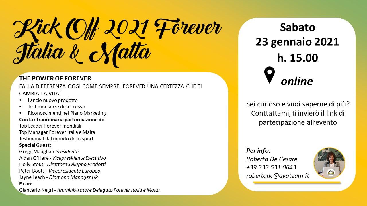 kick off 2021 Forever Italia & Malta